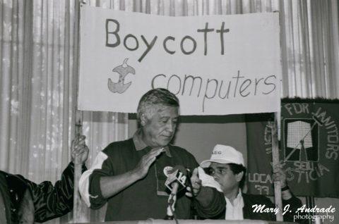 CESAR CHAVEZ SAYS, – BOYCOTT APPLE COMPUTER