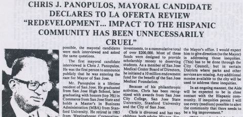 "Chris J. Panopulos, Mayoral Candidate: ""Redevelopment… impact to the Hispanic community has been unnecessarily cruel"""
