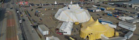 ¡Ya está instalada la nueva Gran Carpa blanca y dorada de Cirque du Soleil  en San Francisco y lista para el estreno de LUZIA