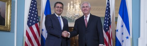 Honduran president meets with Tillerson, lawmakers in Washington