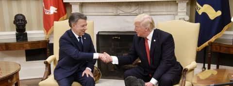 Trump focuses on anti-drug fight, Santos on peace in their 1st meeting