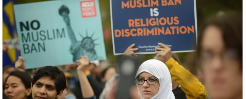 Protesters urge Supreme Court to strike down Trump travel ban