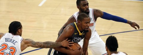 100-128. Durant ataca con 41 puntos para los líderes Warriors