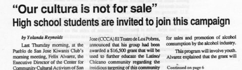 """Our cultura is not for sale"" -High school students are invited to join this campaign"