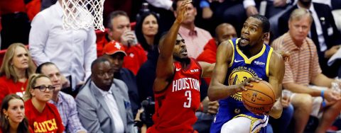 112-108. Harden vuelve a ser verdugo de Warriors y Rockets empatan serie