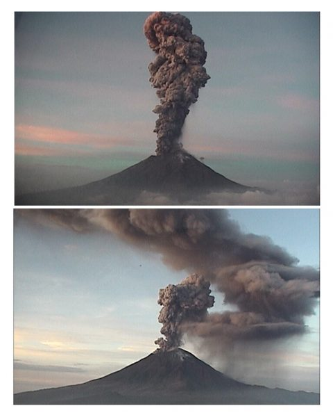 Popocatépetl genera columna de ocho kilómetros de altura