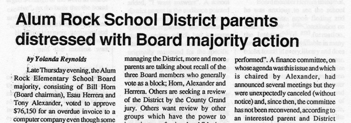 Alum Rock School District parents distressed with Board majority action