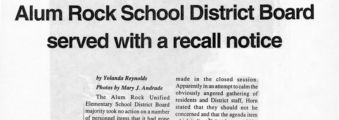 Alum Rock School District Board served with a recall notice