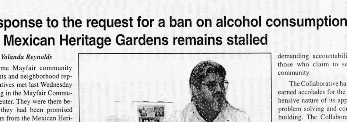 Response to the request for a ban on alcohol consumption at the Mexican Heritage Gardens remains stalled