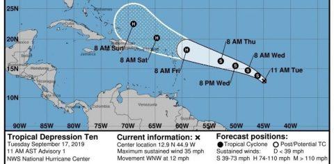 La décima tormenta tropical del Atlántico amenaza Bahamas como huracán