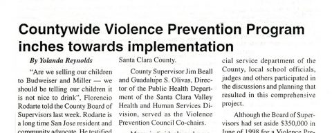 Countywide Violence Prevention Program inches towards implementation