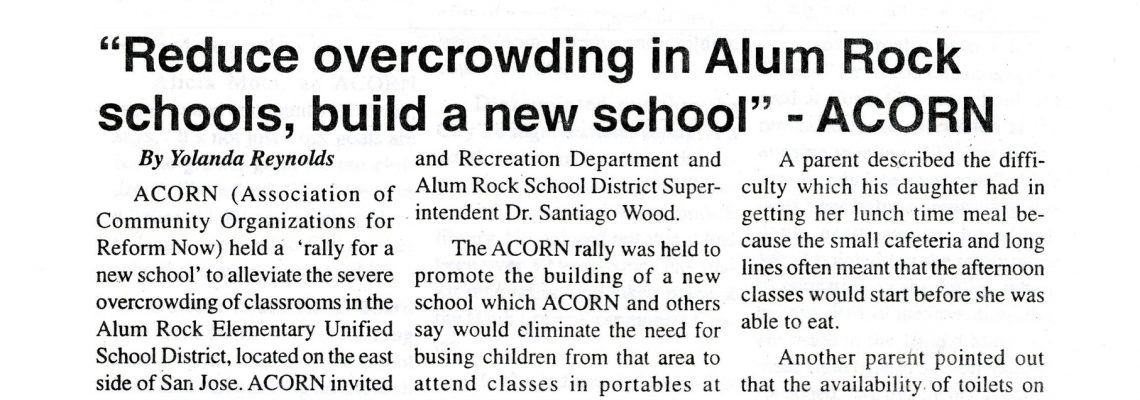 """Reduce overcrowding in Alum Rock schools, build a new school"" – ACORN"