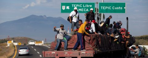 LGBT migrants, from the caravan of Central Americans, arrive in Tijuana