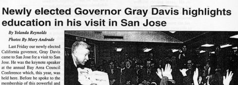 Newly elected Governor Gray Davis highlights education in his visit in San Jose