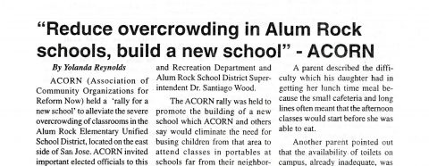 """Reduce overcrowding in Alum Rock schools, build a new school"" – ACORN"